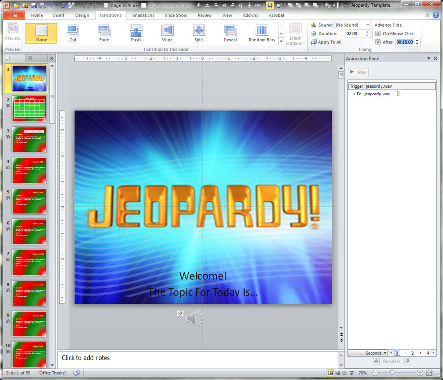 making a jeopardy game board in powerpoint to supplement your light and buzzer system and learning a bit about powerpoint templates