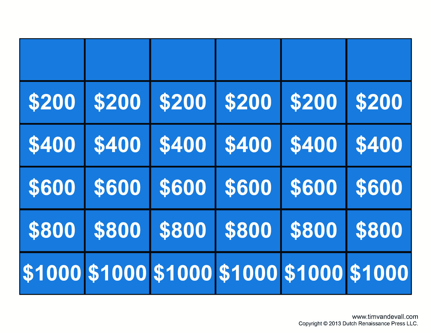 Jepordy Template Free Jeopardy Template Make Your Own Jeopardy Game
