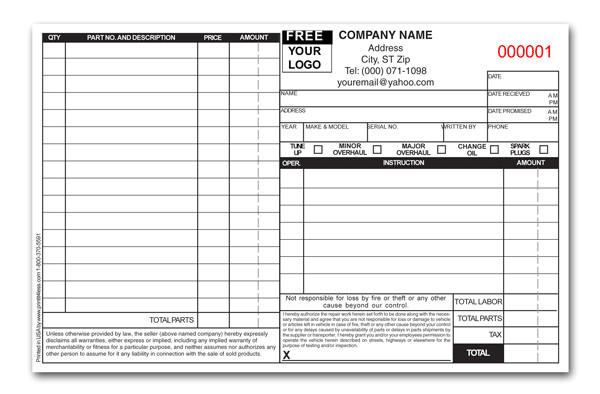 oil change receipt template