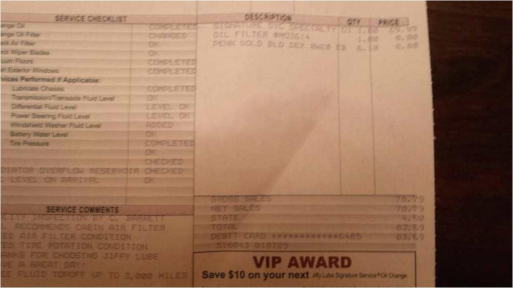 oil change receipts garage keep oil change receipts