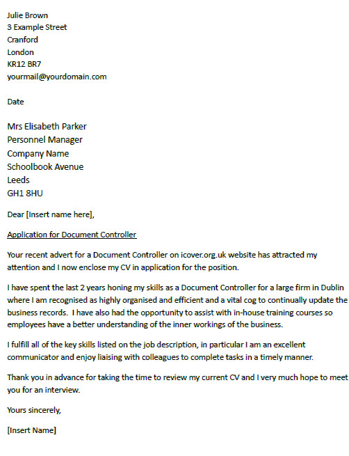 examples of covering letters for job applications uk
