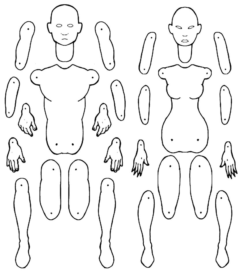male and female jointed paper doll templates 496728895