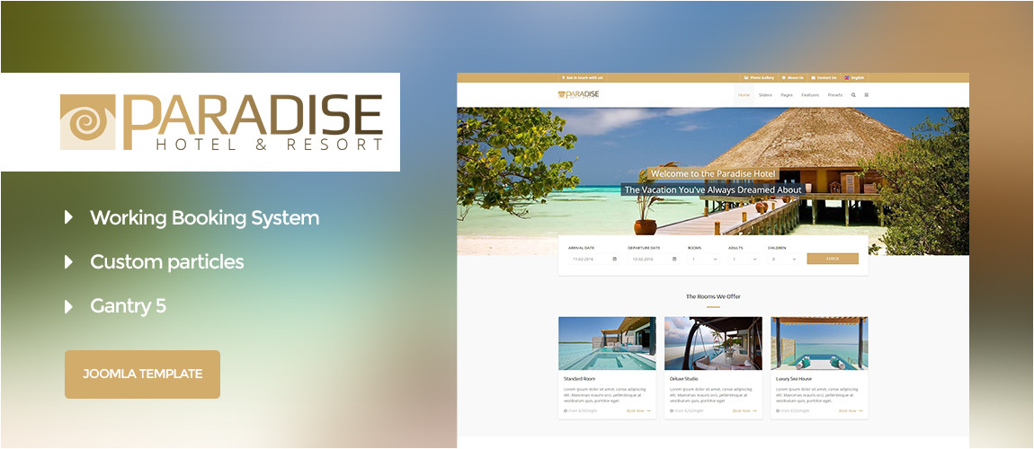 45 paradise hotel booking gantry 5 joomla template
