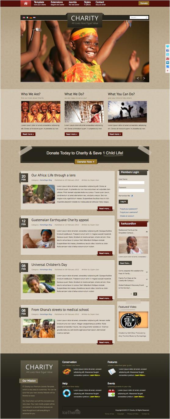 it charity joomla template for donate non profit organizations