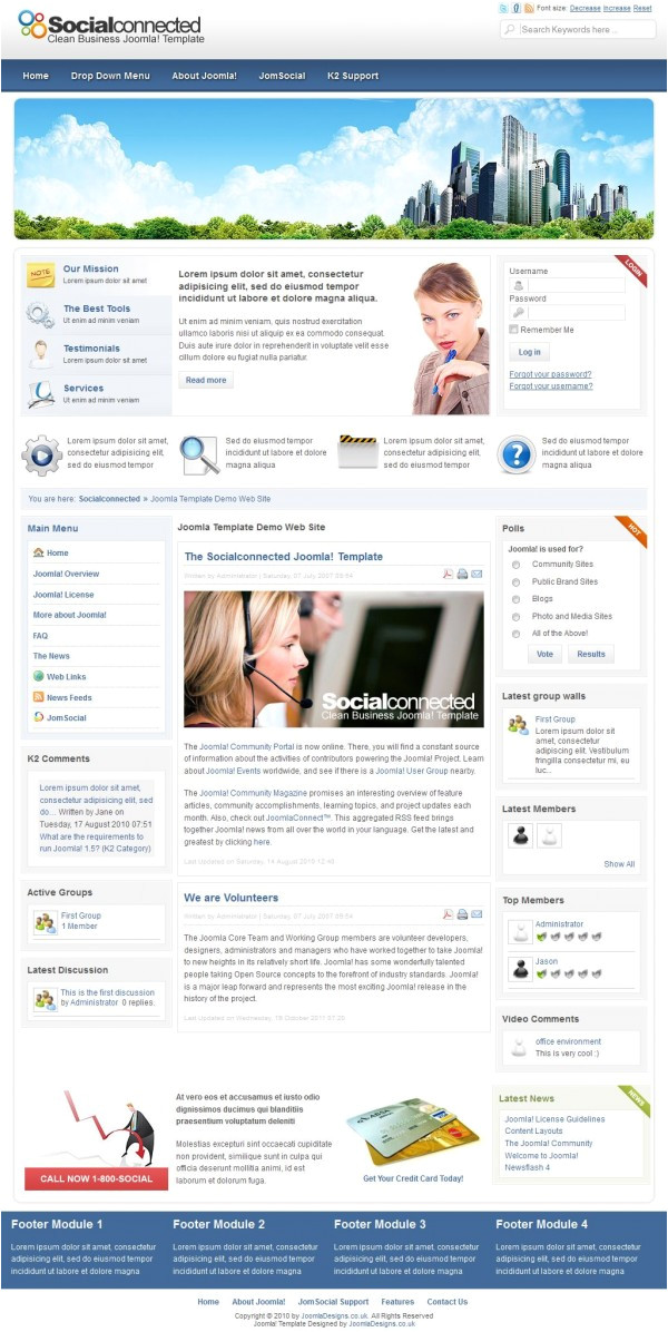 Joomla social Media Template Jds social Connected Template Vn