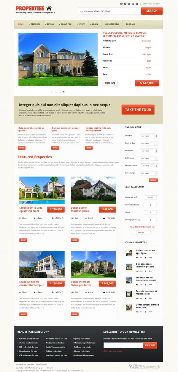 properties responsive real estate joomla template