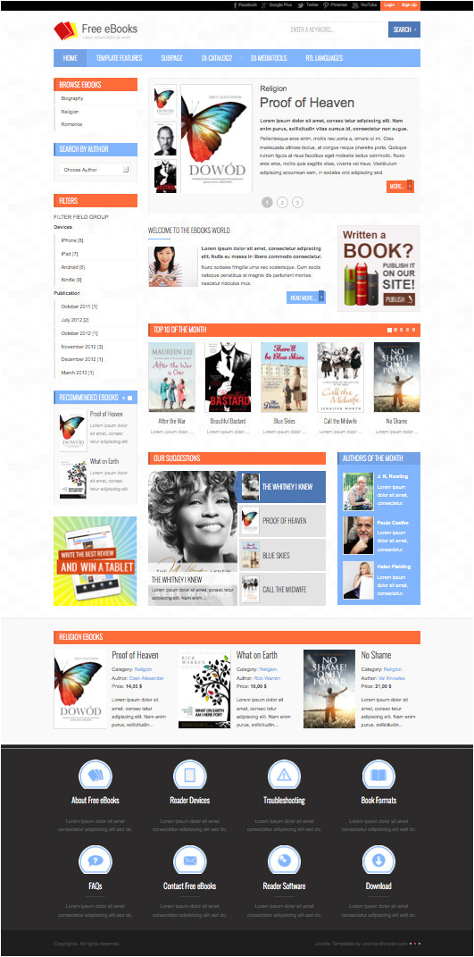 jm free ebooks joomla template create downloadable products site