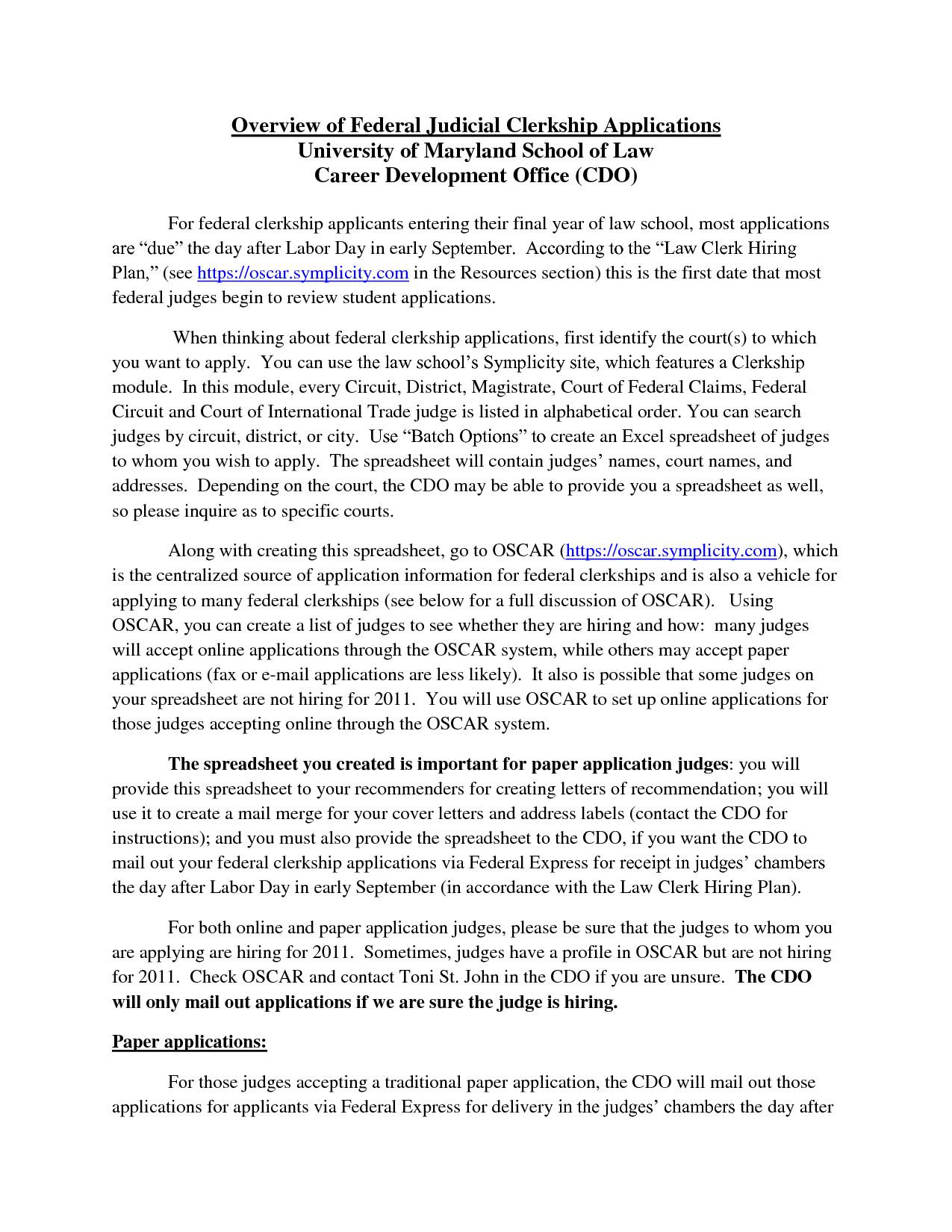 sample judicial externship cover letter