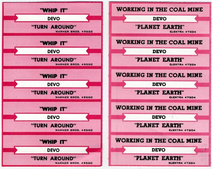 devo jukebox labels circa early 1980s