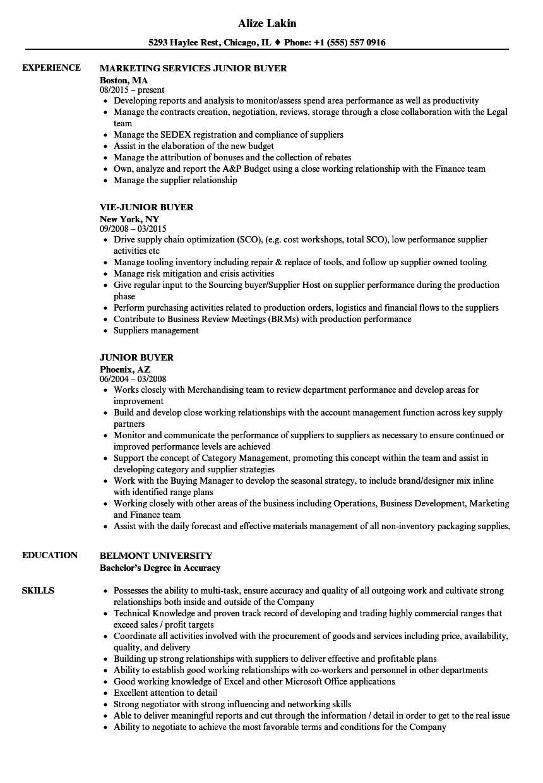 Junior Buyer Resume Sample Junior Buyer Resume Samples Velvet Jobs