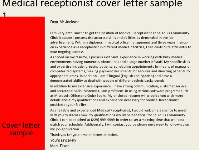 sample of cover letter for receptionist resume