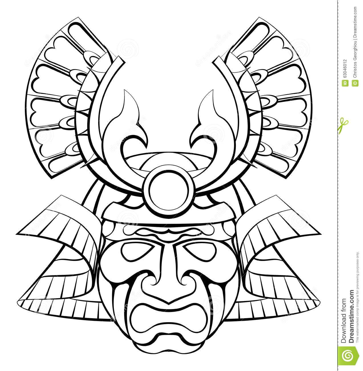 stock illustration samurai mask helmet design illustration image63046012