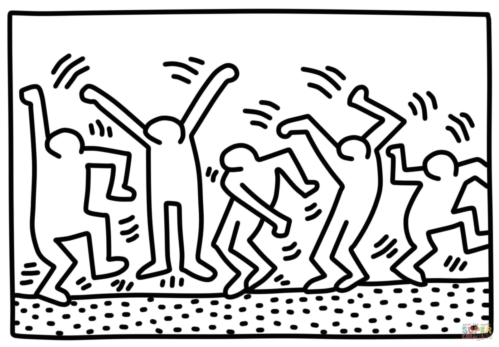 Keith Haring Figure Templates Dancing Figures by Keith Haring Coloring Page Free