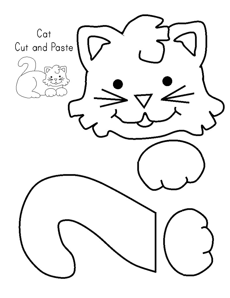Kid Cut Out Template Cat Activities for Kids Free Kiddo Shelter