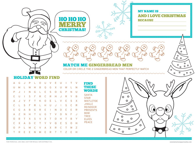 free printable christmas activity placemats for kids