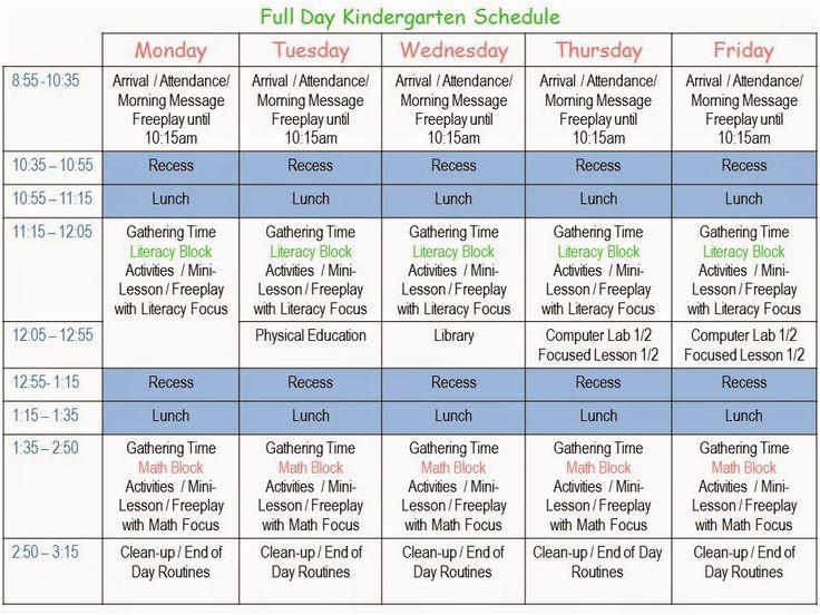Kindergarten Timetable Template 15 Best Full Day K Images On Pinterest Kindergarten
