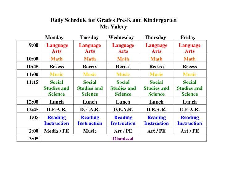 Kindergarten Timetable Template Pin Daily Schedule for Grades Pre K and Kindergarten On