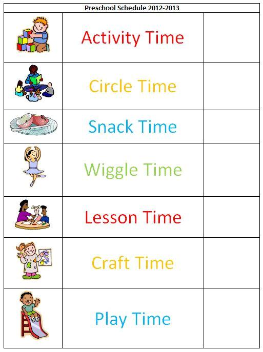 preschool schedule template 4228