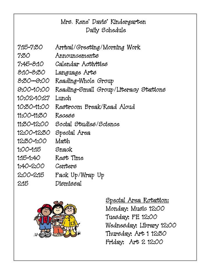 Kindergarten Timetable Template the 25 Best Kindergarten Daily Schedules Ideas On