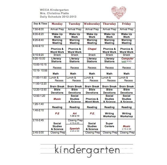 Kindergarten Timetable Template Weekly School Schedule Template 9 Free Word Excel