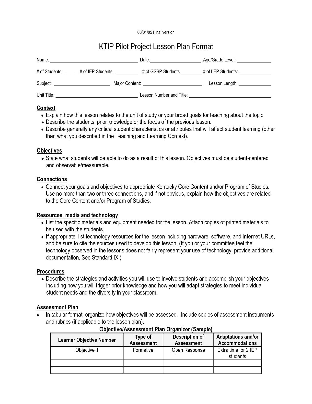 post kipp lesson plan template 840469