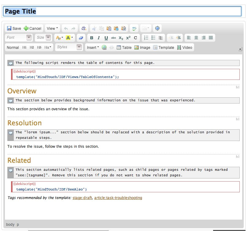 add a knowledge base page template tcs