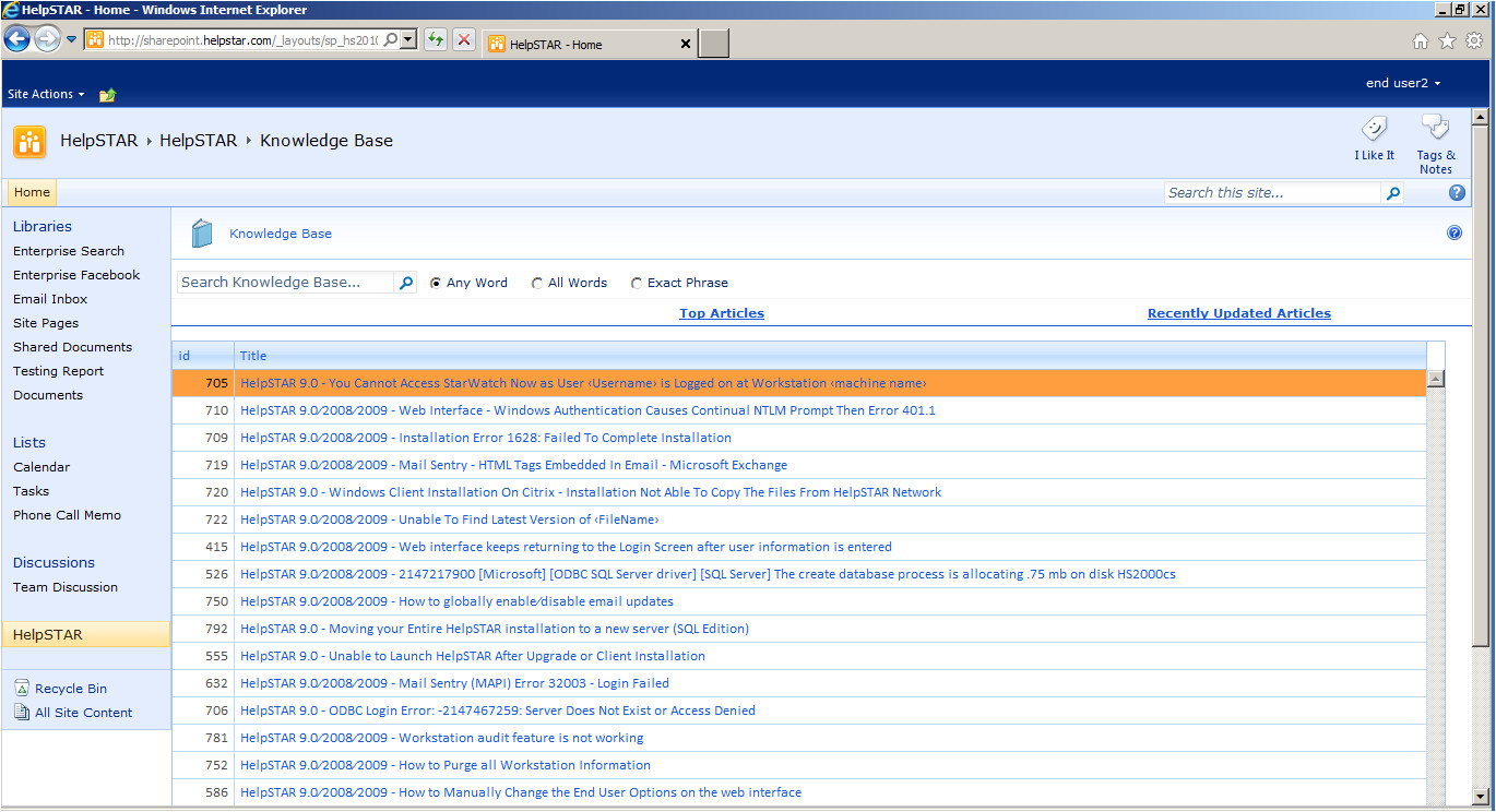 sharepoint knowledge base search