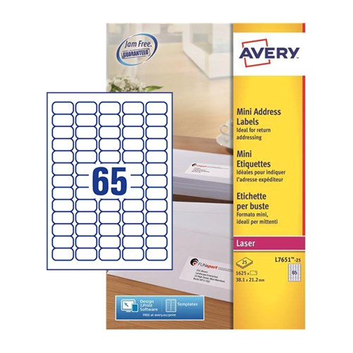 prod 22494 1540 6792 6797 7185 avery mini labels laser 65 per sheet 38 1x21 2mm white ref l7651 25 1625 labels