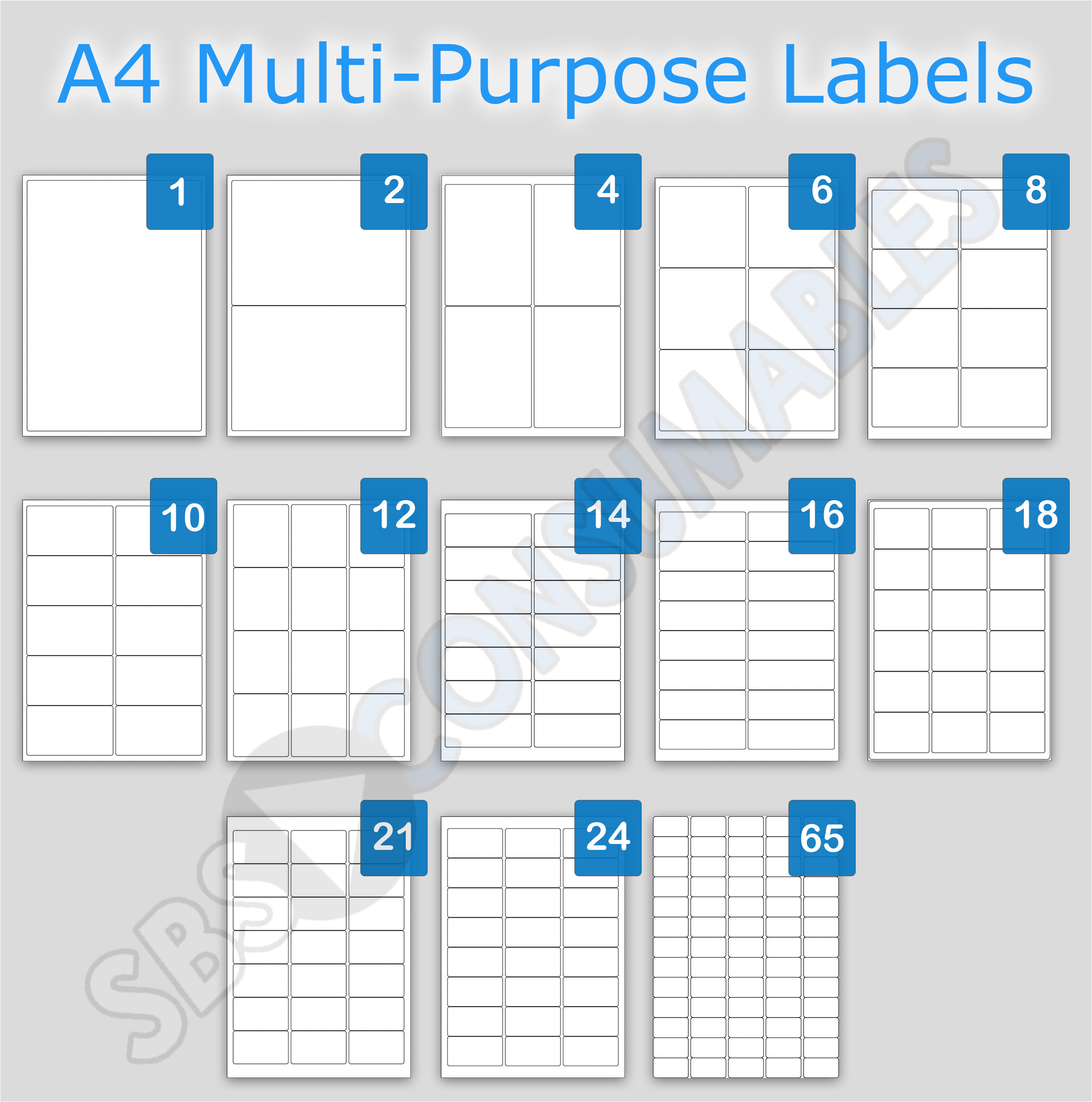 label template 65 per sheet 2422