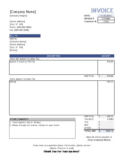 Labor Receipt Template Service Invoice Template for Consultants and Service Providers