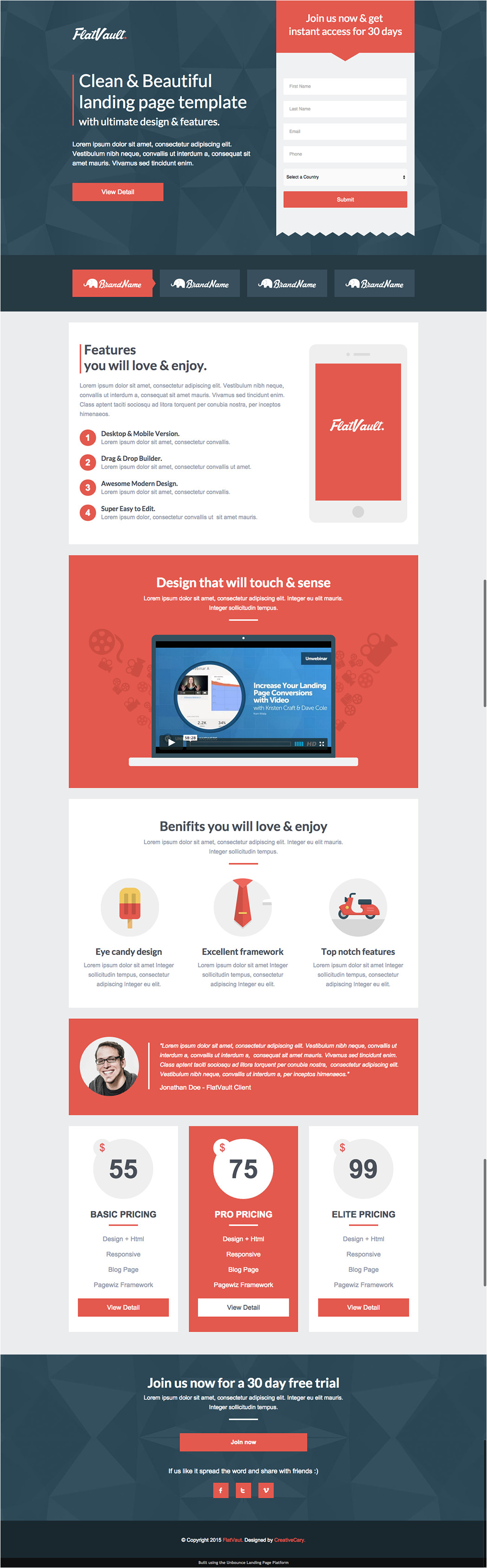 Landing Page with Video Template 8 Mobile Friendly Landing Page Templates Designed with Love