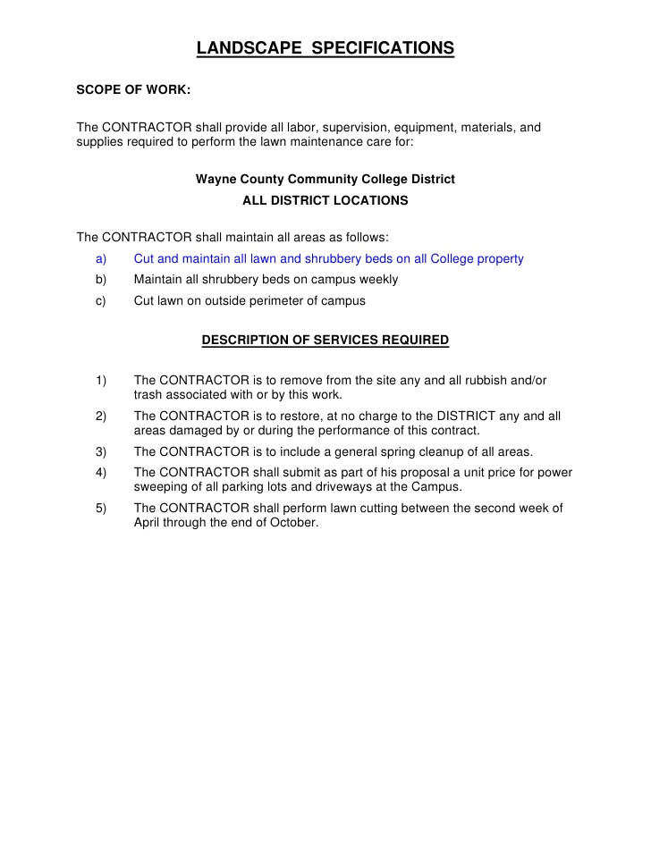 Landscaping Scope Of Work Template Request for Proposal Bid Number 001038