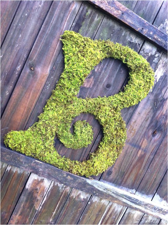 large moss covered letter b rustic