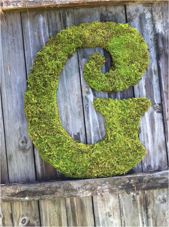 large moss covered letter g 24 letter