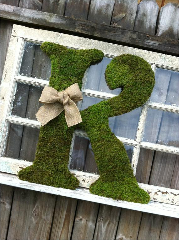 large moss covered letter k rustic