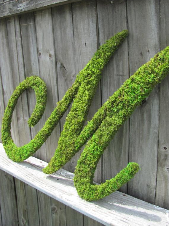 large moss covered letter m rustic