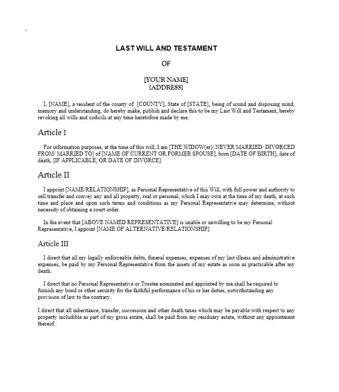 Last Will and Testament Free Template Maryland Last Will and Testament Samples and Templates