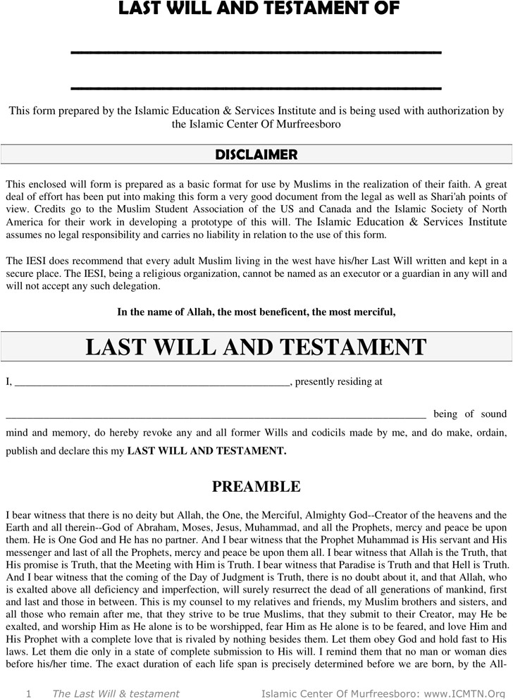 last will and testament template ontario