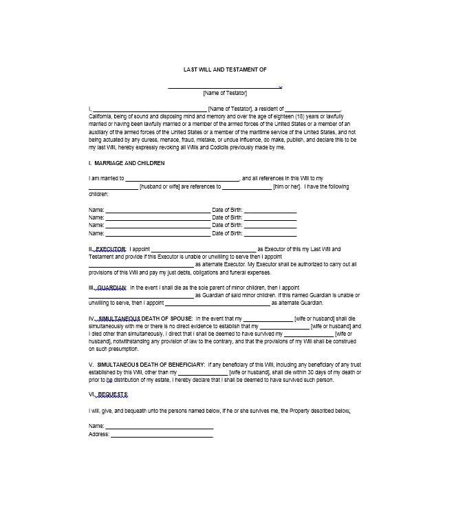 Last Wills and Testaments Free Templates 39 Last Will and Testament forms Templates Template Lab