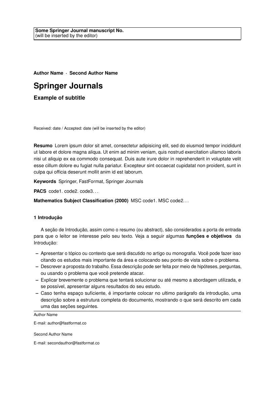 Latex Template for Springer Journals Modelos Journal Conference Fastformat