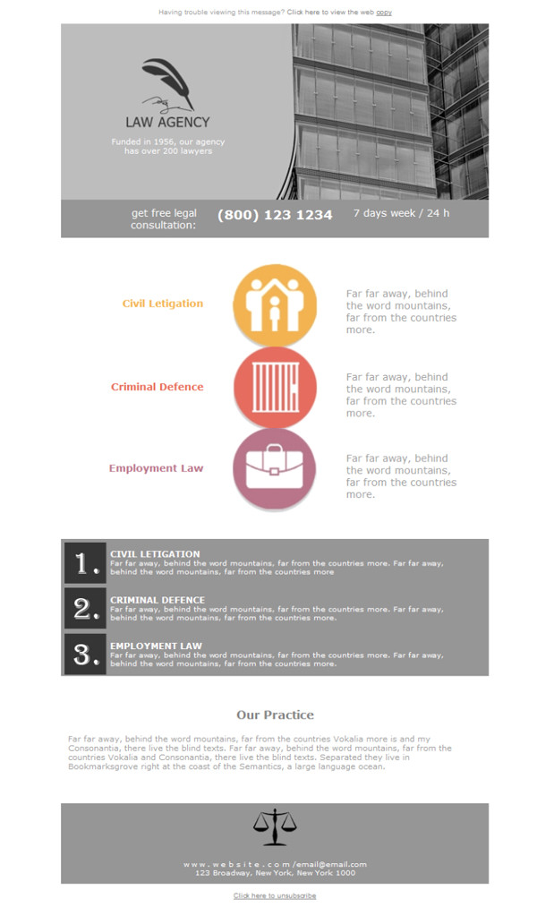Law Firm Newsletter Templates Free Email Templates Download Design Legal Law Firm