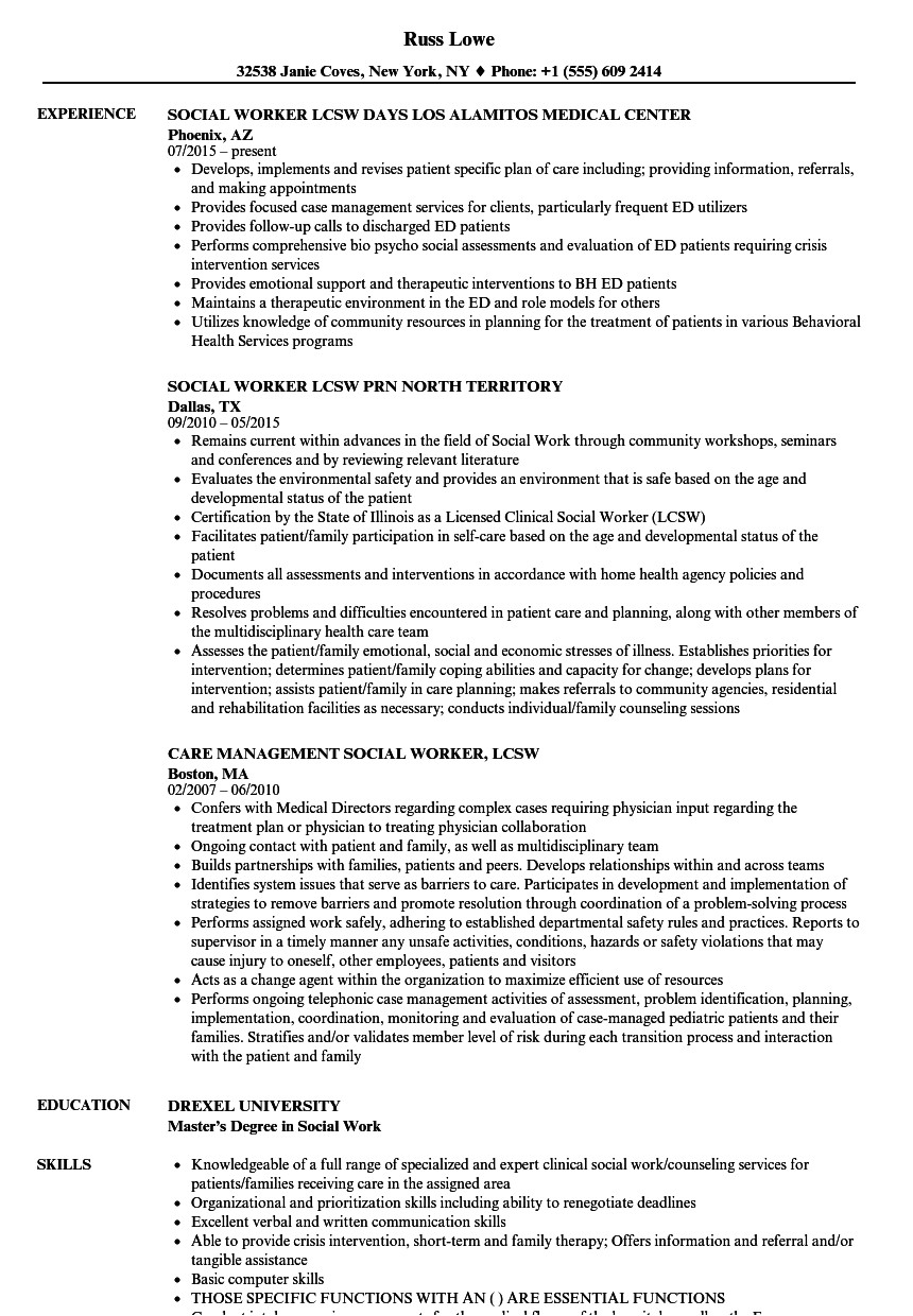 social worker lcsw resume sample
