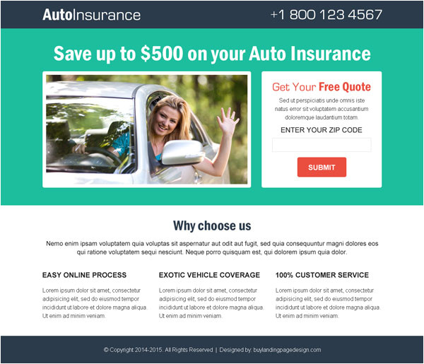 top 20 best auto insurance quote landing page design templates