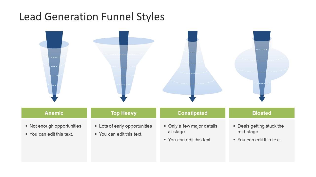 4 lead generation funnel styles template powerpoint