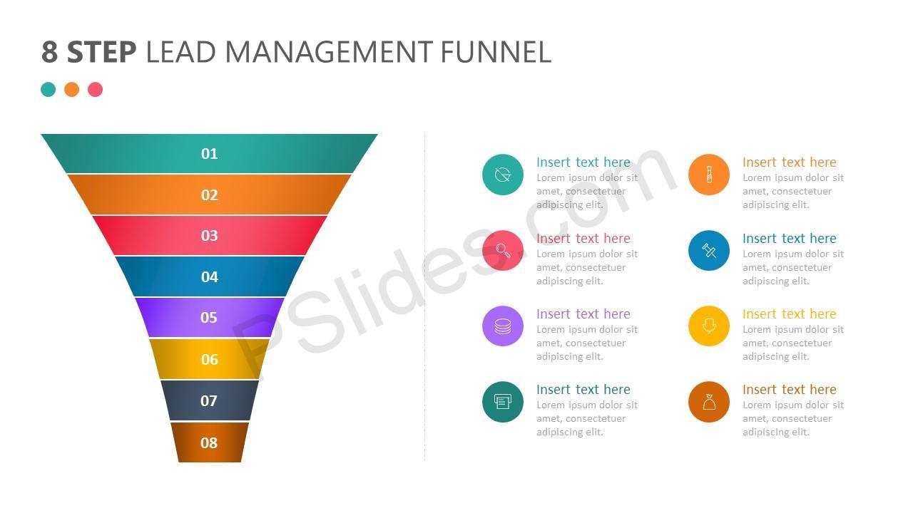 8 step lead management funnel diagram