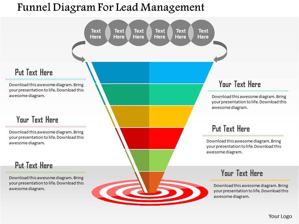 funnel diagram for lead management flat powerpoint design