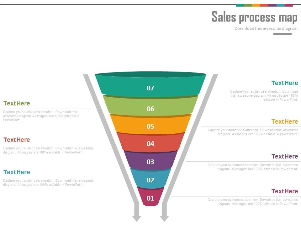 ppts sales process funnel map for lead generation powerpoint slides