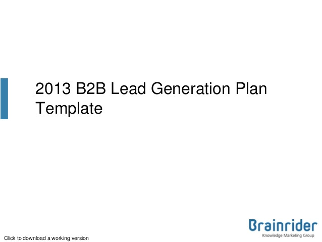b2b lead generation plan template 2013