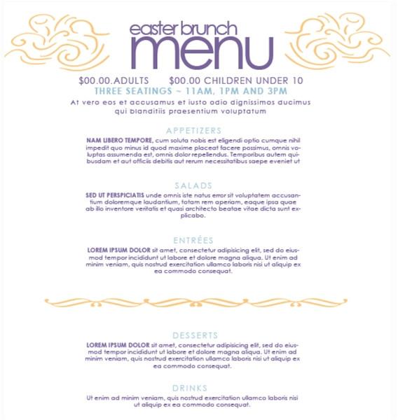 learning menu template