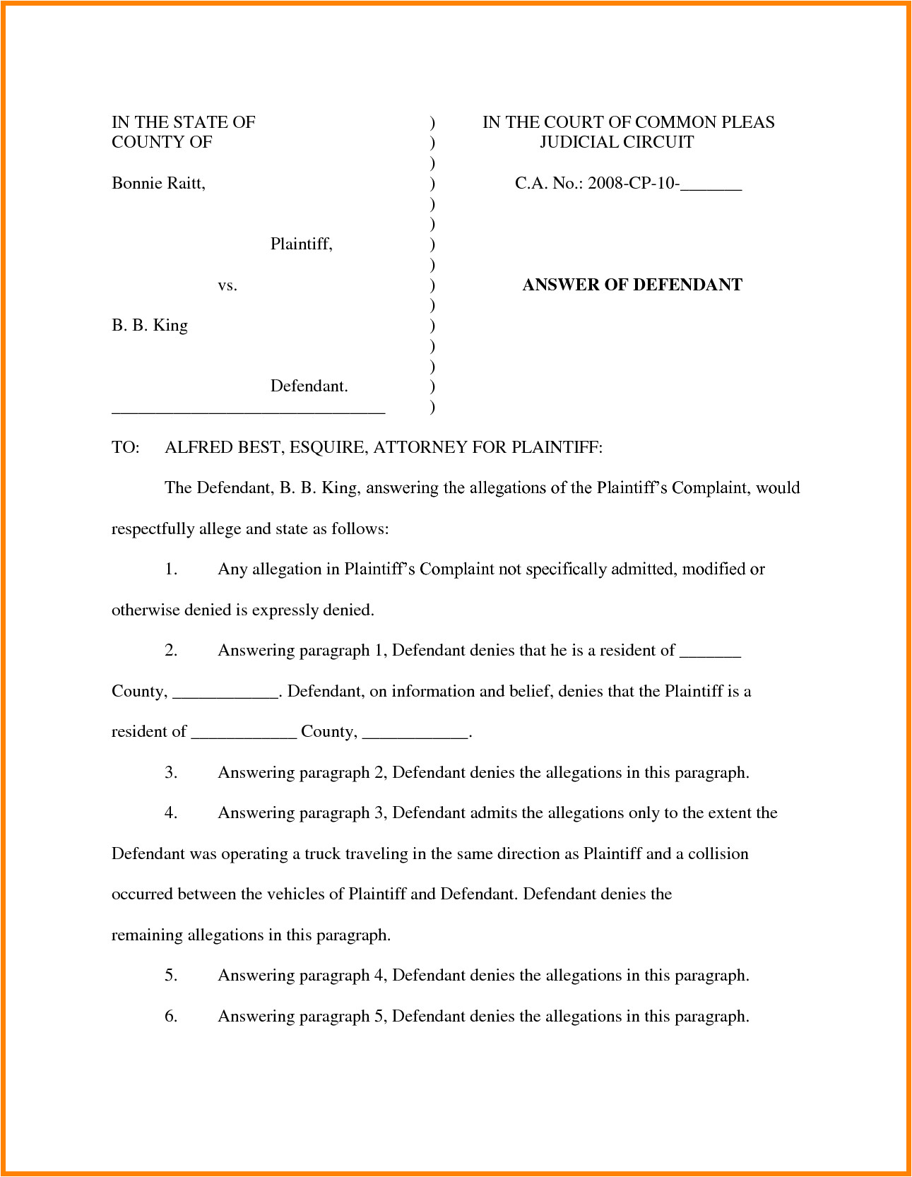 civil complaint template